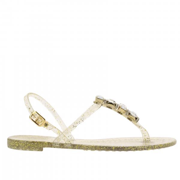 Casadei Flat Sandale aus Glitzer-PVC mit Schmuck Kristallen