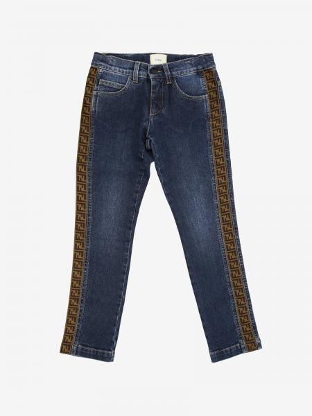 Fendi jeans in used denim with FF Fendi bands