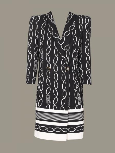 Elisabetta Franchi 链条印花双排扣连衣裙