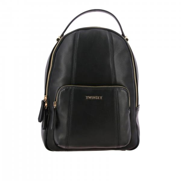 Twin-set leather backpack with metallic logo