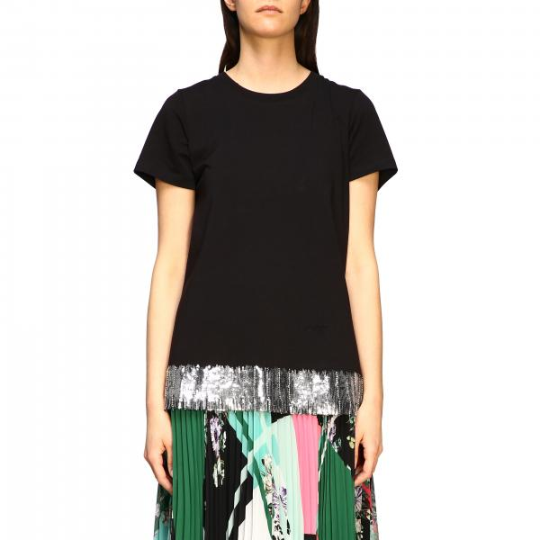 T-shirt My Twin a girocollo con fondo di paillettes