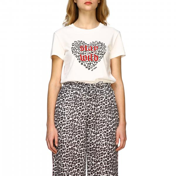 T-shirt My Twin a girocollo con stampa cuore animalier