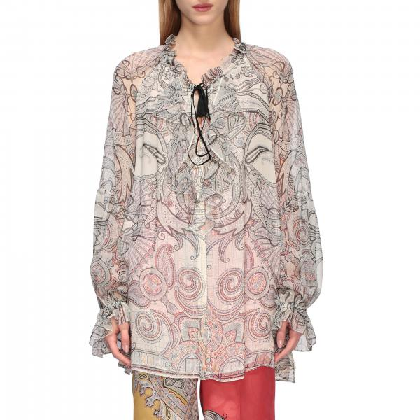 Ethnic patterned Etro shirt with ruffles