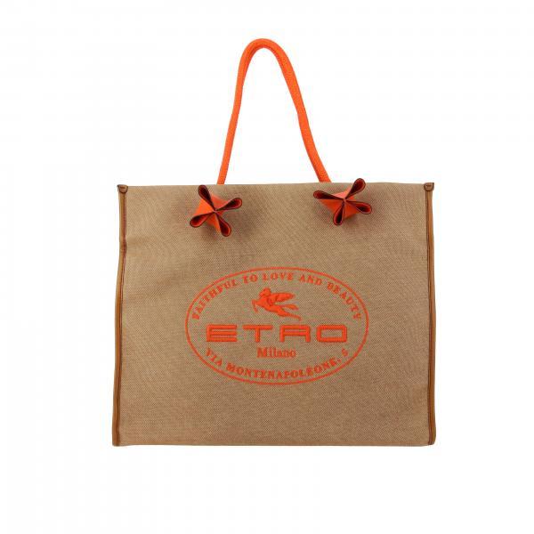 Etro Canvas Tasche mit Maxi Stickerei