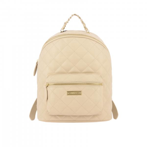 Twin-set quilted backpack with logo