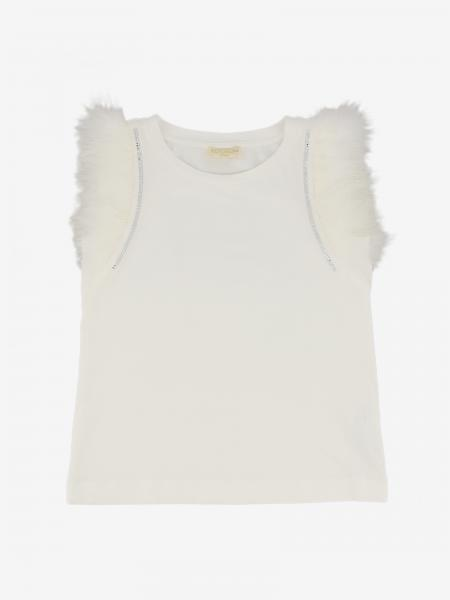 T-shirt Monnalisa Chic avec plumes et strass