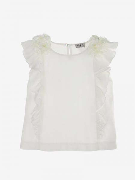 T-shirt Monnalisa con rouches e applicazioni floreali
