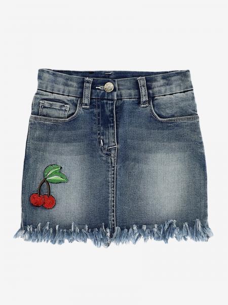 Gonna di jeans Monnalisa con cuore e ciliegie