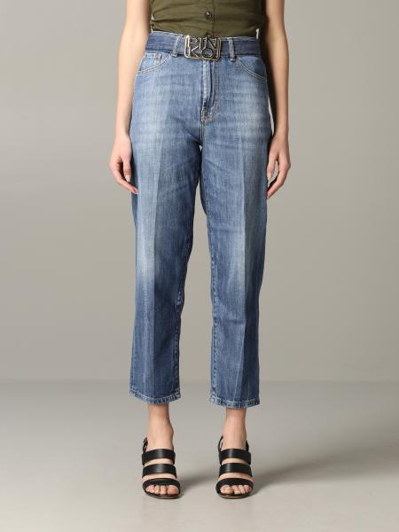 Jeans Pinko in denim ampio con logo metallico