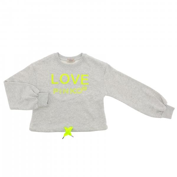 Pinko sweater with logo and fluo drawstring