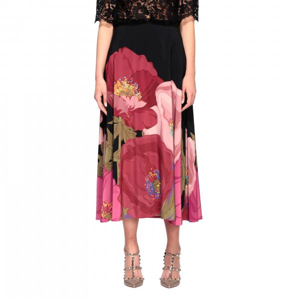 Valentino wheel skirt with floral print