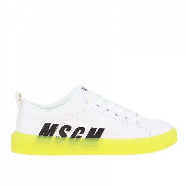 Sneakers Msgm Kids in pelle con logo e suola fluo