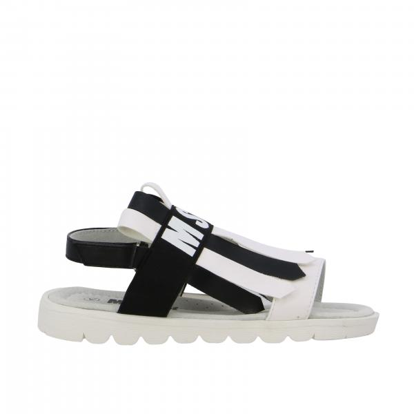 Msgm Kids sandal with fringes and logo