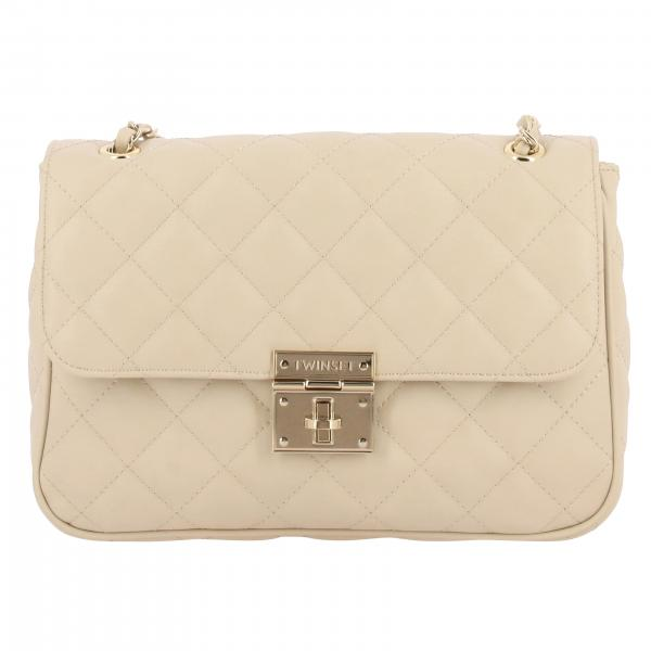 Twin-set quilted bag with logo