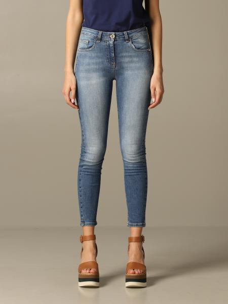 Elisabetta Franchi jeans in used denim with logo