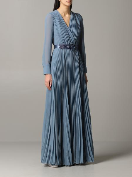 Max Mara long and pleated dress with jewel belt
