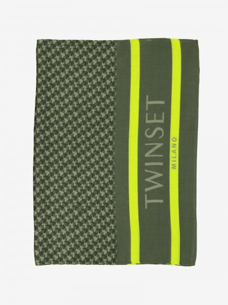 Twin-set patterned scarf with logo