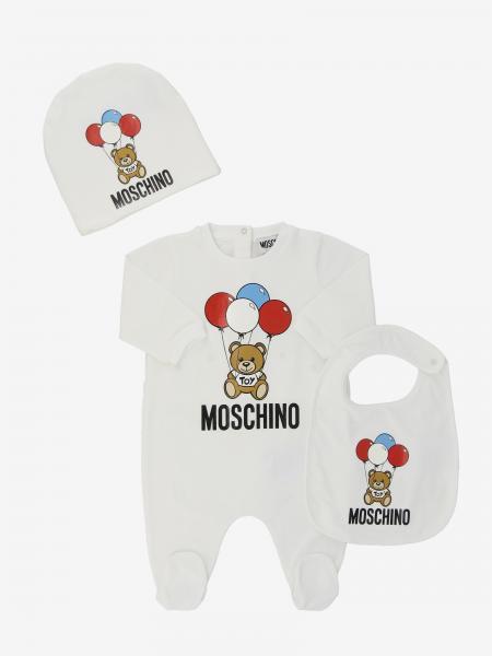 Ensemble combinaison avec pied + chapeau + bavoir Moschino Baby