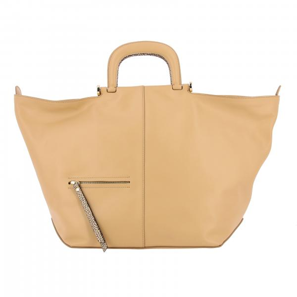 Borbonese handbag in leather with printed handles