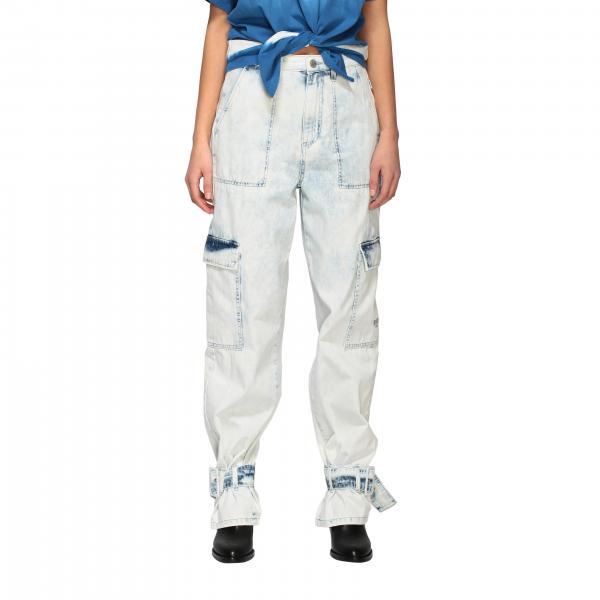 Jeans Msgm in denim used con fibbie