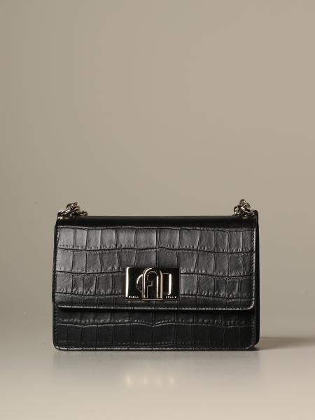 Furla shoulder bag in croc print leather
