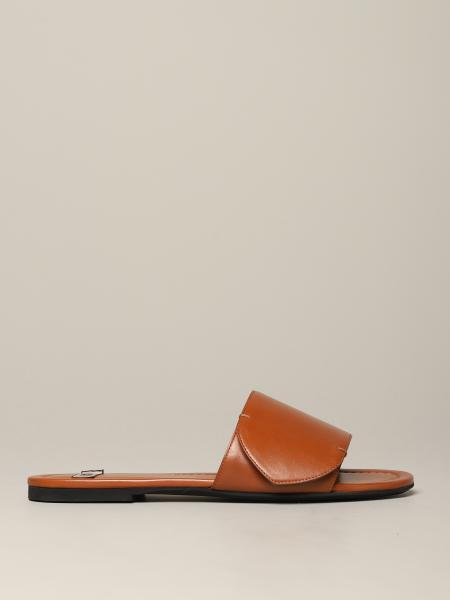 Sandalo N° 21 in pelle con logo metallico