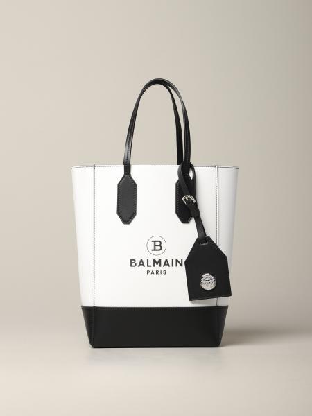 Borsa tote S Balmain in pelle bicolor con stampa logo