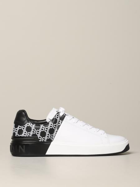 Balmain sneakers in bicolor smooth leather with all-over B print