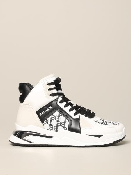 Sneakers Balmain alta in pelle bicolor con stampa B all over