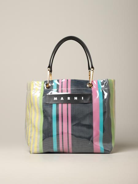 Marni tote bag in striped canvas and pvc