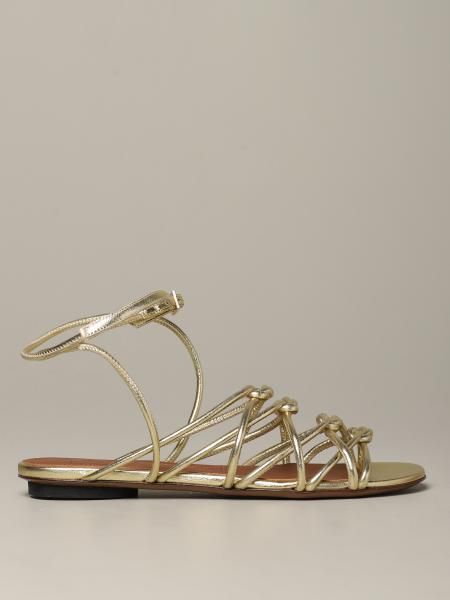 Sandalo flat L'autre Chose in pelle laminata