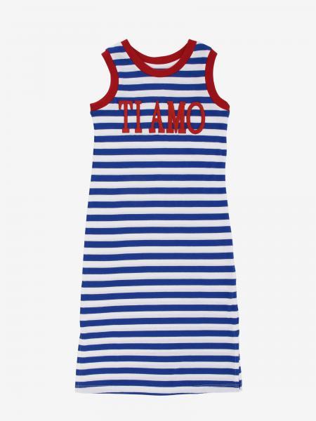 Alberta Ferretti Junior striped dress with I love you writing