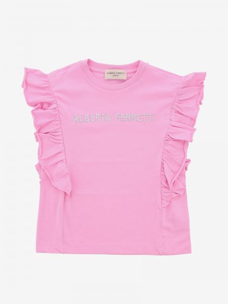 T-shirt Alberta Ferretti Junior con rouches e logo