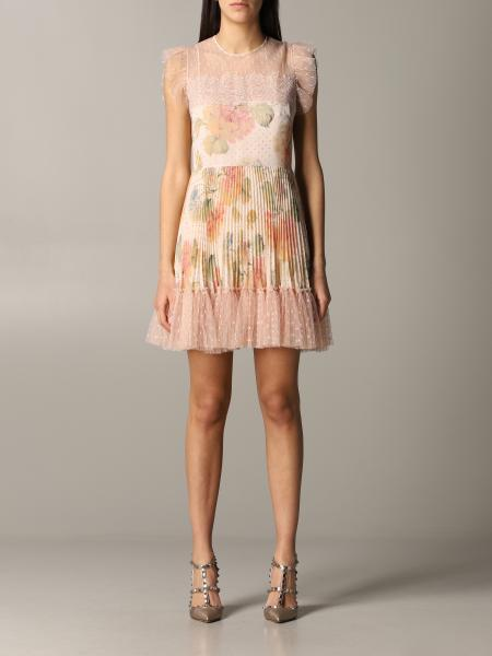 Red Valentino pleated dress with floral pattern