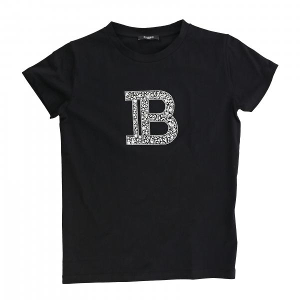 Balmain T-shirt with rhinestone monogram