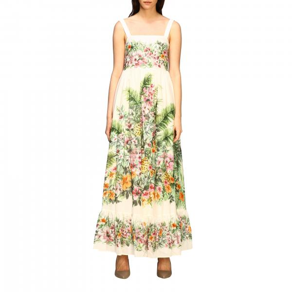 Twin-set long dress with floral pattern