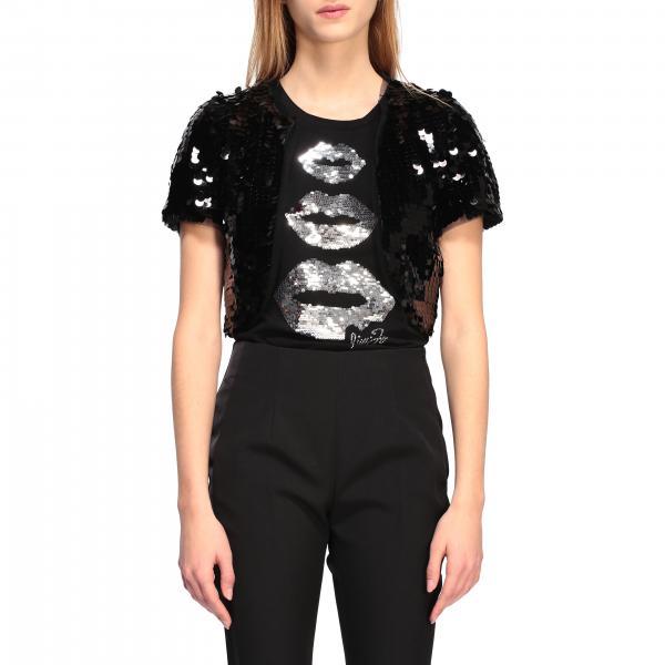 T-shirt Liu Jo di paillettes con maxi bocche laminate
