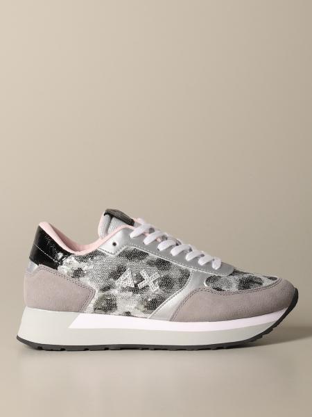 Sneakers Sun 68 in camoscio con paillettes animalier