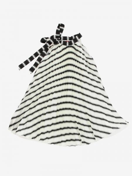Loredana Kleid aus plissiertem, gestreiftem Stoff
