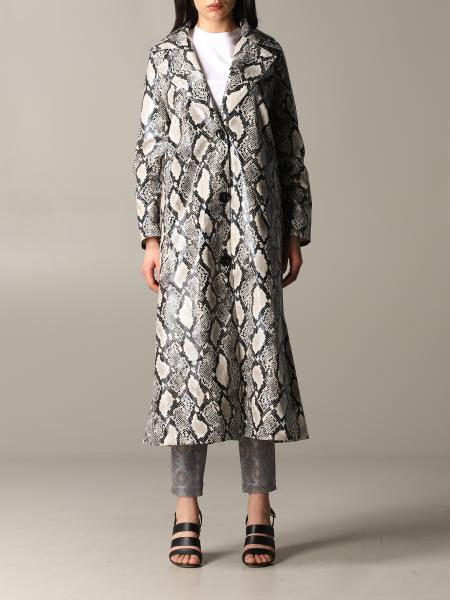 Stand single-breasted coat with python print