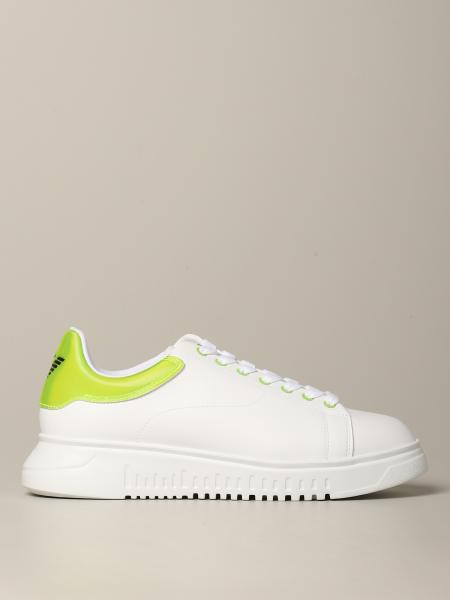 Emporio Armani leather sneakers with fluo heel