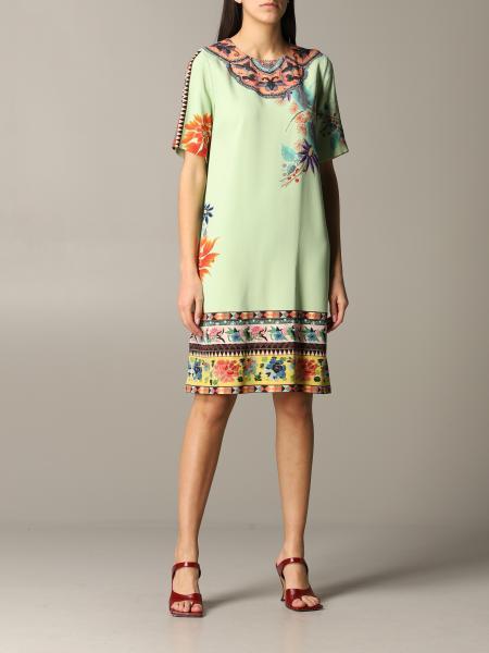 Etro Seidenkleid mit ethnischer und floraler Stickerei
