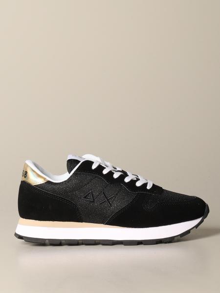 Sneakers Sun 68 in camoscio e tela lurex