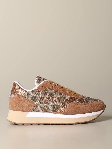 Sneakers Sun 68 in camoscio e pelle animalier lurex
