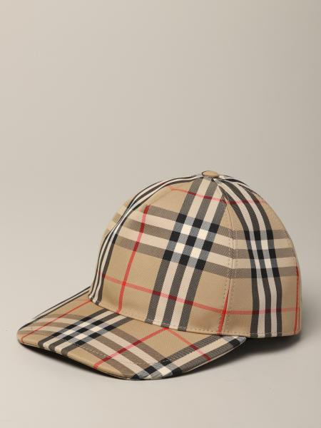 Burberry check hat with logo