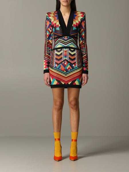 Balmain dress in multicolor shaped fabric