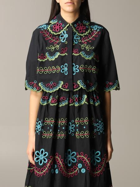 Red Valentino shirt with colored floral embroidery