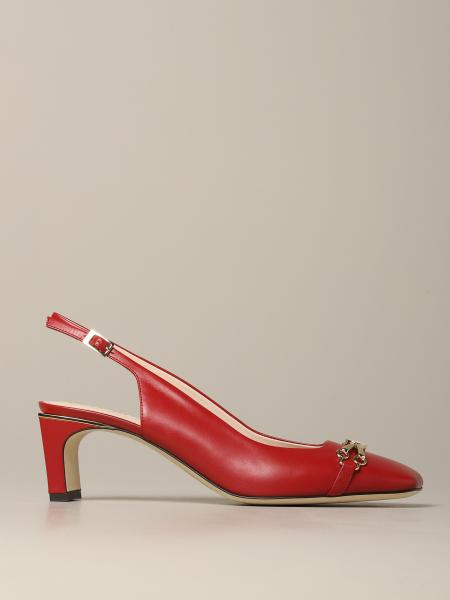 Pollini sandal in leather with metal clamp