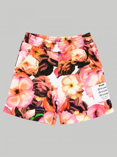 Msgm Kids shorts with floral pattern