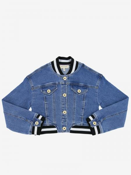 Twin-set denim jacket with striped edges